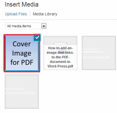 Adding cover image to PDF documents in WP 08
