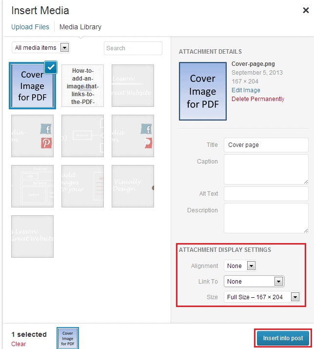Adding cover image to PDF documents in WP 09